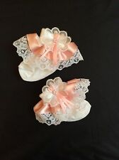 DELUXE SARAH JANE BABY GIRLS FRILLY SOCKS WITH LACE, PEARLS AND RIBBON