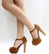New Women OBr Tan T-Strap Peep Toe Platform Sandal Heels sz 6 to 11