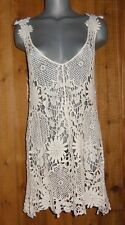 NWT PRETTY ANGEL TUNIC DRESS SHIRT cover up CROCHETED cream S M L  SEXY vintage