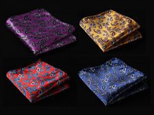 Men Silk Satin Handkerchief Pocket Square Hanky Paisley Color Wedding Party