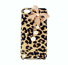 Bling Diamond Pearl Bow Bowknot Gold Leopard Case Cover For iPhone5 5S 4 4S