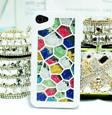 Bling Crystal Diamonds Colorful Grid Hard Case Cover For iPhone5 5S 4 4S SQ45