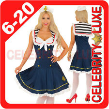 New 50's Navy Sailor Girl Uniform Ladies Rockabilly Pin Up Fancy Dress Costume