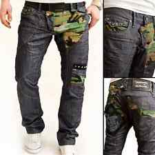 New Mens Jeans Military Camo Patches Decorative Studs Modern Cut W29-38 L32