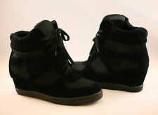 Women's Fashion Wedge Sneakers High Top Lace Up Heels Ankle Booties Shoes Black