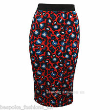 New Ladies Womens Elasticated Waist Blue Red Pattern Bodycon Pencil Midi Skirt