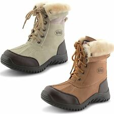 New Girls Kids Boys Fur Winter Snow Mucker Boots Ankle Lace Up Shoes UK 12.5-3