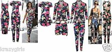 New Ladies Womens Celebrity Style Floral Print Playsuit Jumpsuit Two Piece Set