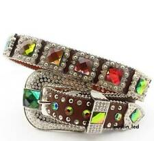Brown Western Prism Volcano Rhinestone Woman Cowgirl Bling Belt Leather Studded