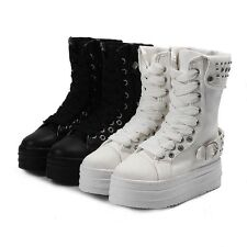 Spike Stud Punk Goth Creeper Shoes Womens Platform Mid Calf Boot Lace Up Sneaker