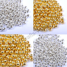 Lots Gold & SILVER PLATED Round SPACER BEADS - 2.4MM 3.2MM 4MM 5MM 6MM 8MM 10MM