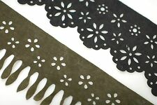 Neotrims Faux Suede Leather Cutwork Scallop Fringe Trimming,Boho Chic,Crafts 8cm