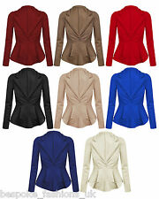 H1B Ladies Womens Long Sleeve Dip Back Casual Blazer Jacket Top Plus Sizes 18-26