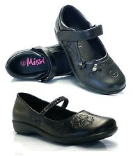 Girls Kids Childrens Mary Jane Low Heel Velcro Casual Formal School Shoes Size