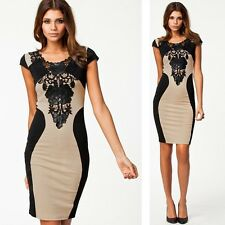 Black Lace Fashion Sleeve Sexy Formal Party Cocktail Evening Slim Bodycon Dress