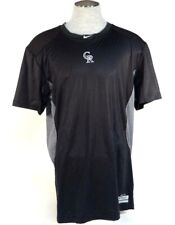 Nike Pro Combat Dri Fit Colorado Rockies Fitted Short Sleeve Athletic Shirt Mens