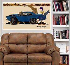 1968 Road Runner 383 Retro Ad Repro WALL GRAPHIC FAT DECAL MAN CAVE MURAL 9532