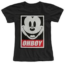 OHBOY MICKEY MOUSE OBEY PARODY FUNNY COOL GIRLS WOMENS COTTON T-SHIRT