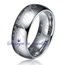 SOLID MENS TUNGSTEN CARBIDE LORD OF THE RINGS 8MM RING BAND NEVER TARNISH JS004