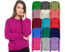 LADIES WOMENS CABLE KNIT LONG SLEEVE KNITTED JUMPER OVER SIZE SWEATER TOP 8-14