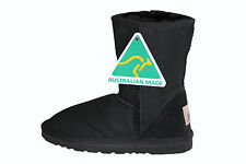 Australian Made Genuine Sheepskin Short UGG Boots Black For Junior Boy or Girl