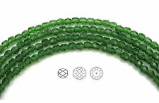 "Czech Fire Polished Round Faceted Beads in Fern Green color, 16"" strand"