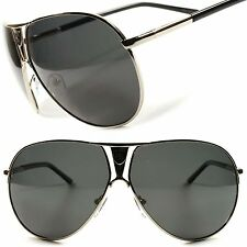 High-End Womens Mens Oversized Air Force Style Polarized Silver Sunglasses C61