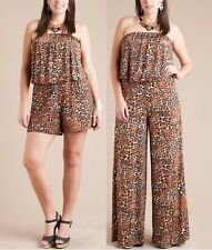 PLUS ANIMAL BROWN LEOPARD STRAPLESS WIDE LEG PALAZZO PANT SUIT JUMPSUIT ROMPER