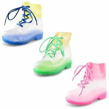 New Kids Girls Snow Winter Waterproof Rainy Lace Up Ankle Welly Boots Sizes 11-3