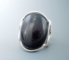 Large Sterling Silver Blue Goldstone Cabochon Wire Wrapped Ring