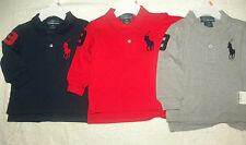 NWT 100% Genuine Ralph Lauren Baby Boys Longsleeve Big Pony Polo