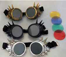 Steampunk Goggles Spike Cyber Goth Cosplay Welding Victorian Vintage with 4 lens