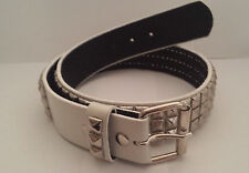 BELT - WHITE - 3-ROW-SILVER PYRAMID STUDDED GENUINE LEATHER -  SNAP BUCKLE -NEW*
