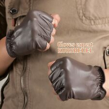 Kursheuel Men's Nappa Leather Soft Suede Fingerless Gloves Police Driving Style