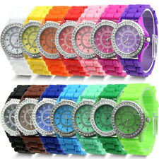 Fashion Silicone Geneva Diamond Crystal Quartz Women Ladies Jelly Wrist Watch