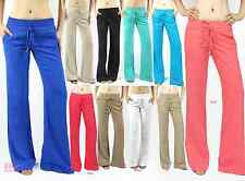 Women Linen pants with banded waist draw strings regular/ plus sizes (S-3XL)