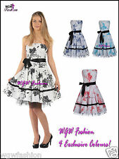 Womens Rockabilly Floral Swing Prom Dress Vintage 50s Size 8 - 20 in 4 Colours!