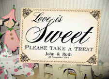 pink white Candy Buffet Sweets Wedding sign personalised option A3  A4 shabby 1