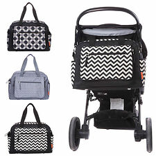 New Luxury Baby Nappy Changing Bag Set Diaper Bag Black Grey
