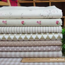 Beige 7 Assorted Pre-Cut Cotton Linen Quilt Fabric Fat Quarter or By the Yard