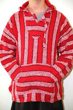 Genuine Mexican Baja hoodie red white pullover jacket unisex s m l xl xxl poncho