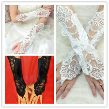 2014 Womens Evening Party Prom Formal Satin Fingerless lace Bridal Gloves