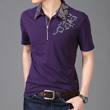 SD77 New Men's Summer T-shirt Casual Slim Fit Short Sleeves Printed Polo Shirts
