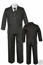 5pc Baby Toddler Kid Boy Formal Brown Pinstripes Tuxedo Suit S M L XL 2T-4T 5-12