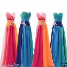 Long Chiffon Evening Formal Party Ball Prom Bridesmaid Dress STOCK Size 2--16