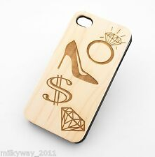 W158 REAL WOOD CASE COVER FOR IPHONE 4 4S WHAT WOMEN WANT diamond rings shoes $