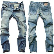 Hot Mens Hole Jeans Pants Slim Cut Casual Stright Leg Denim Trousers Slack