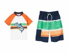 NWT Gymboree Shark Striped Rash Guard Rashguard OR Striped Swim Trunk Short NEW
