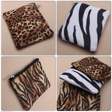 GIRLS SOFT ANIMAL PRINT TIGER ZEBRA LEOPARD COIN ZIP PURSE PARTY BAG GIFT