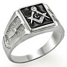 Men's Silver Tone Stainless Steel Black Enamel Crystal Masonic Ring Size 8 - 13